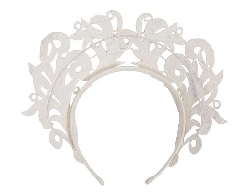 Fascinators Online - Ivory lace crown racing fascinator by Max Alexander 4