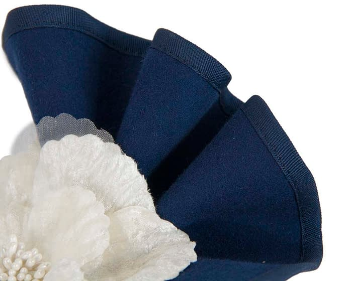Fascinators Online - Navy & cream felt winter racing fascinator 4