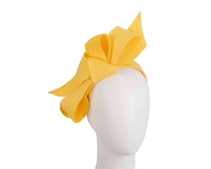 Fascinators Online - Large yellow bow fascinator by Max Alexander 1