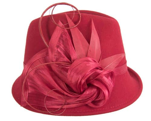 Fascinators Online - Exclusive red felt trilby hat by Fillies Collection 3