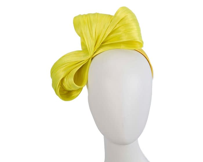 Fascinators Online - Yellow bow racing fascinator by Fillies Collection 1