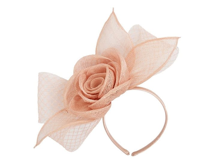 Fascinators Online - Large nude sinamay bow fascinator by Max Alexander 2