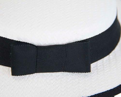 Fascinators Online - Small white & black boater fascinator hat by Max Alexander 6