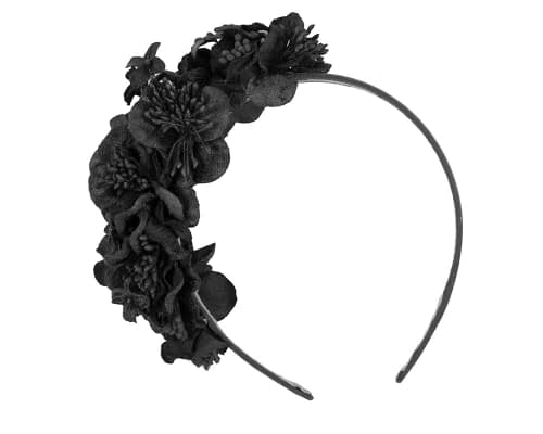 Fascinators Online - Racing fascinator - Black flowers on headband by Max Alexander 2