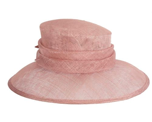 Fascinators Online - Large traditional dusty pink racing hat by Max Alexander 3