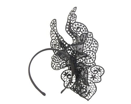 Fascinators Online - Black lace butterfly fascinator 4
