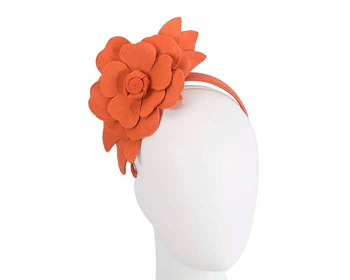 Fascinators Online - Burnt orange felt flower fascinator by Max Alexander 1