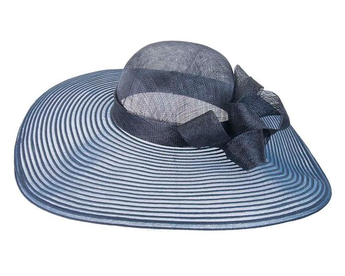 Fascinators Online - Wide brim navy fashion hat by Max Alexander 4