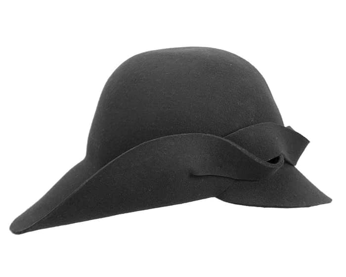 Fascinators Online - Unusual black felt wide brim hat by Max Alexander 2