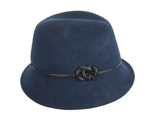 Fascinators Online - Navy felt trilby hat by Max Alexander 2