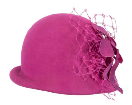 Fascinators Online - Fuchsia felt bucket hat from Fillies Collection 6