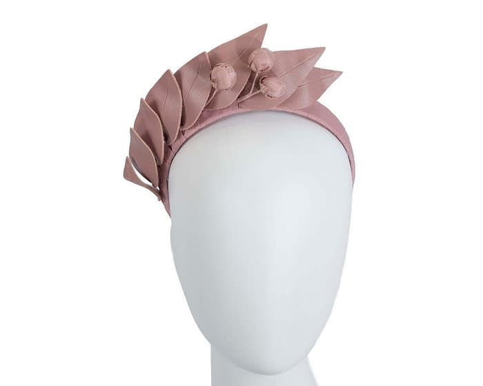 Fascinators Online - Taupe leather racing fascinator by Max Alexander 1