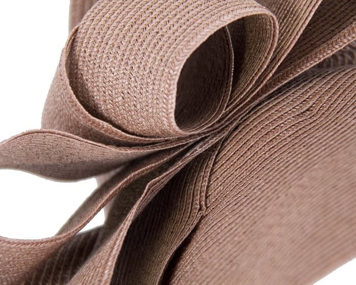 Fascinators Online - Large taupe fascinator with loops by Max Alexander 4
