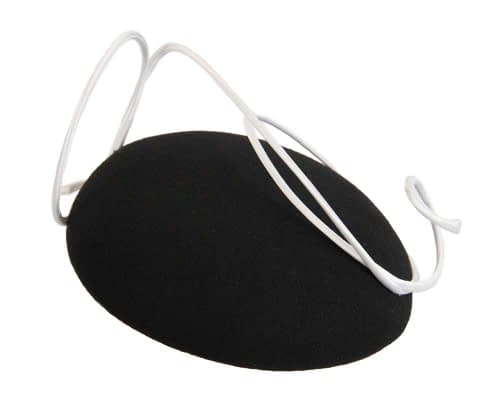 Fascinators Online - Black felt fascinator hat with white trim by Fillies Collection 2