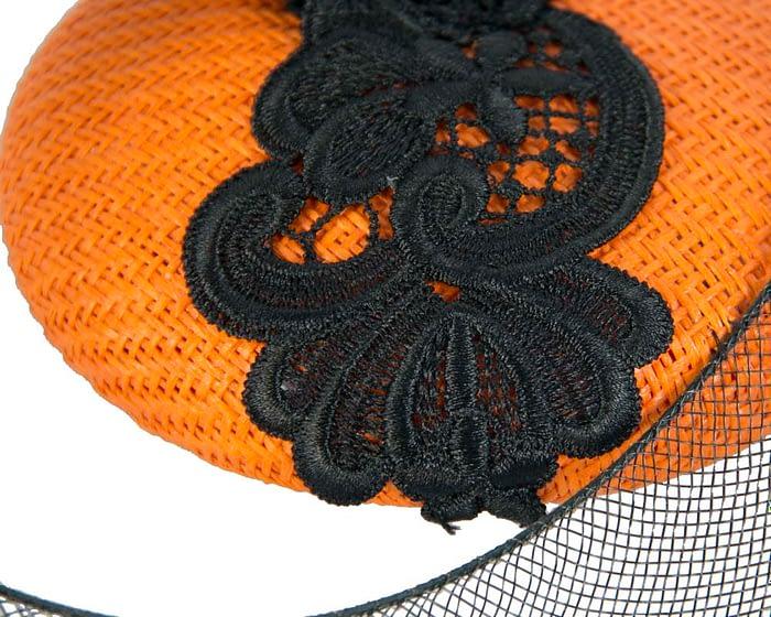 Fascinators Online - Orange & Black designers fascinator 3