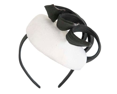 Fascinators Online - White & black pillbox racing fascinator with jinsin trim by Fillies Collection 6