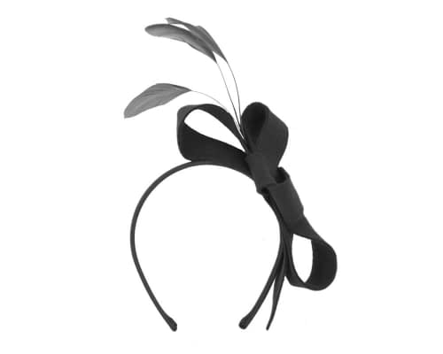 Fascinators Online - Black felt bow winter fascinator 2