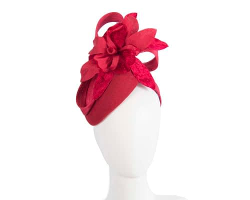 Fascinators Online - Tall red felt pillbox with flower by Fillies Collection 131