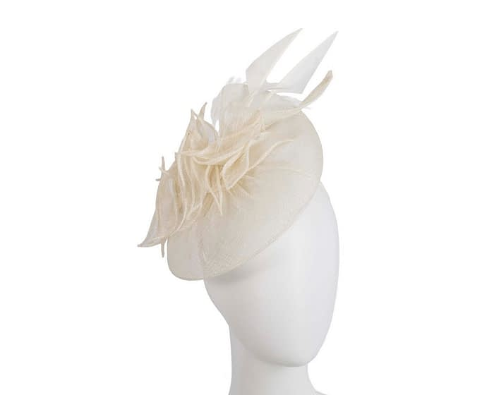 Fascinators Online - Cream racing fascinator with feathers by Max Alexander 1