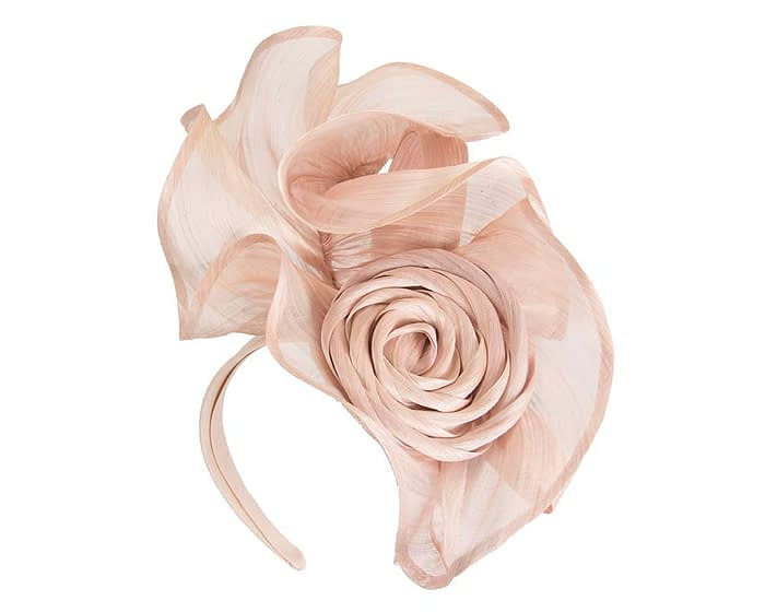 Fascinators Online - Blush sculptured silk abaca fascinator by Fillies Collection 2