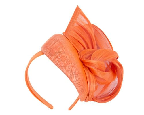 Fascinators Online - Orange pillbox fascinator with silk bow by Fillies Collection 2