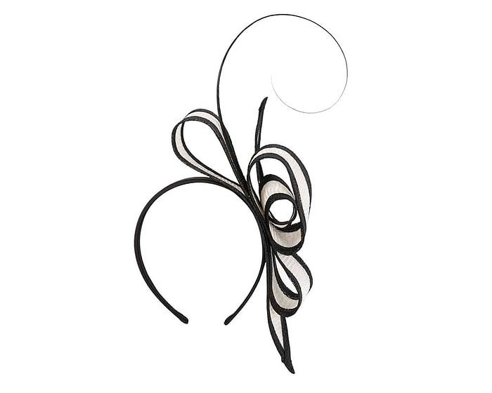 Fascinators Online - White & Black Australian Made bow fascinator 2