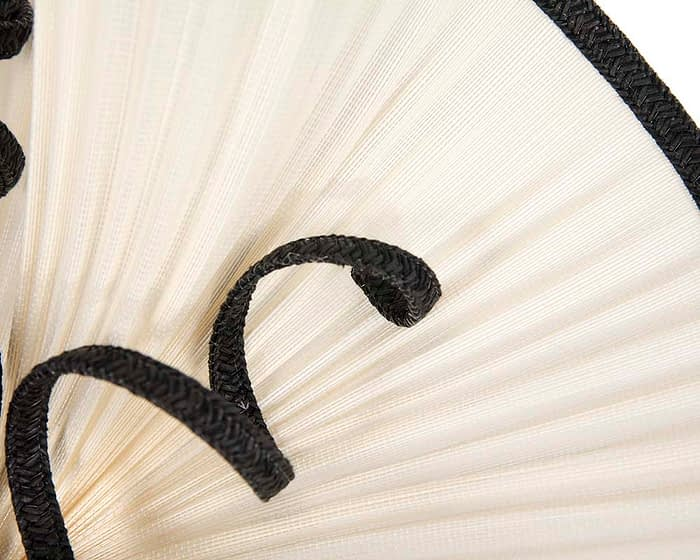 Fascinators Online - Large cream and black jinsin racing fascinator by Fillies Collection 4