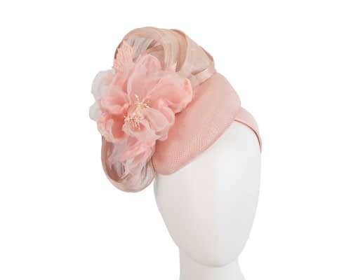 Fascinators Online - Pink pillbox fascinator with large flower by Fillies Collection 1