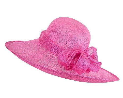 Fascinators Online - Wide brim fuchsia sinamay racing hat by Max Alexander 2