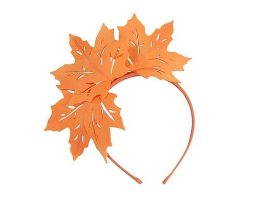 Orange laser-cut felt fascinator by Max Alexander