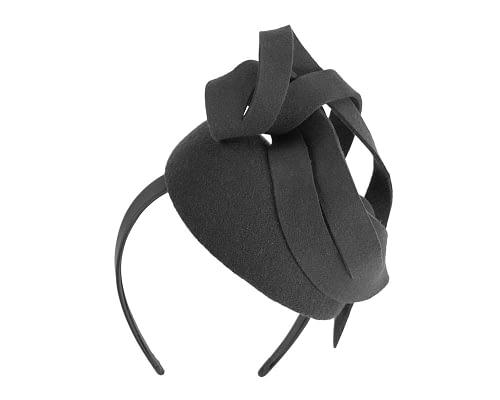 Fascinators Online - Unusual black felt pillbox fascinator by Fillies Collection 3