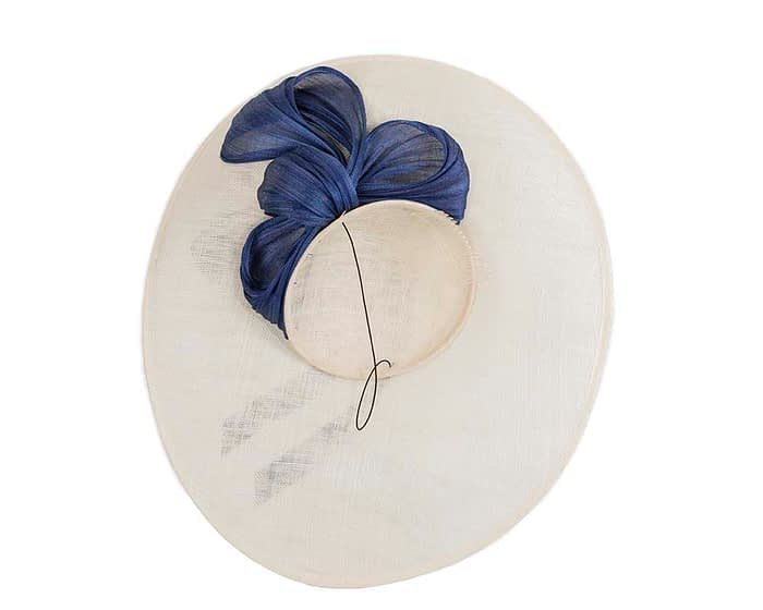 Fascinators Online - Large Cream fascinator hat with Blue bow 5