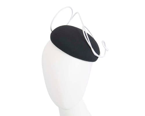 Fascinators Online - Black felt fascinator hat with white trim by Fillies Collection 1