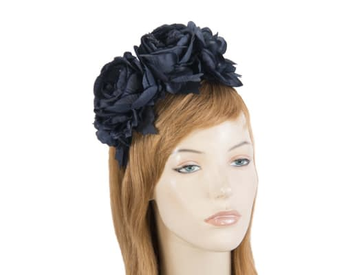 Fascinators Online - Navy flower headband fascinator by Max Alexander 1
