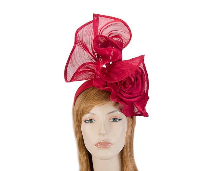 Fascinators Online - Red sculptured silk abaca fascinator by Fillies Collection 1