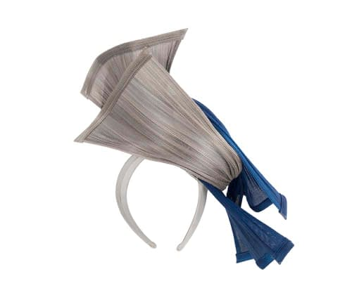 Fascinators Online - Twisted royal blue & silver jinsin racing fascinator by Fillies Collection 4