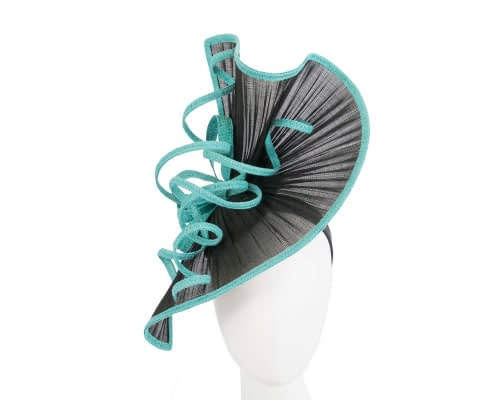 Fascinators Online - Large black & turquoise jinsin racing fascinator by Fillies Collection 7