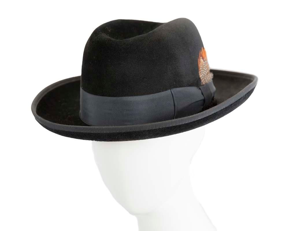 Black wide brim rabbit fur fedora hat