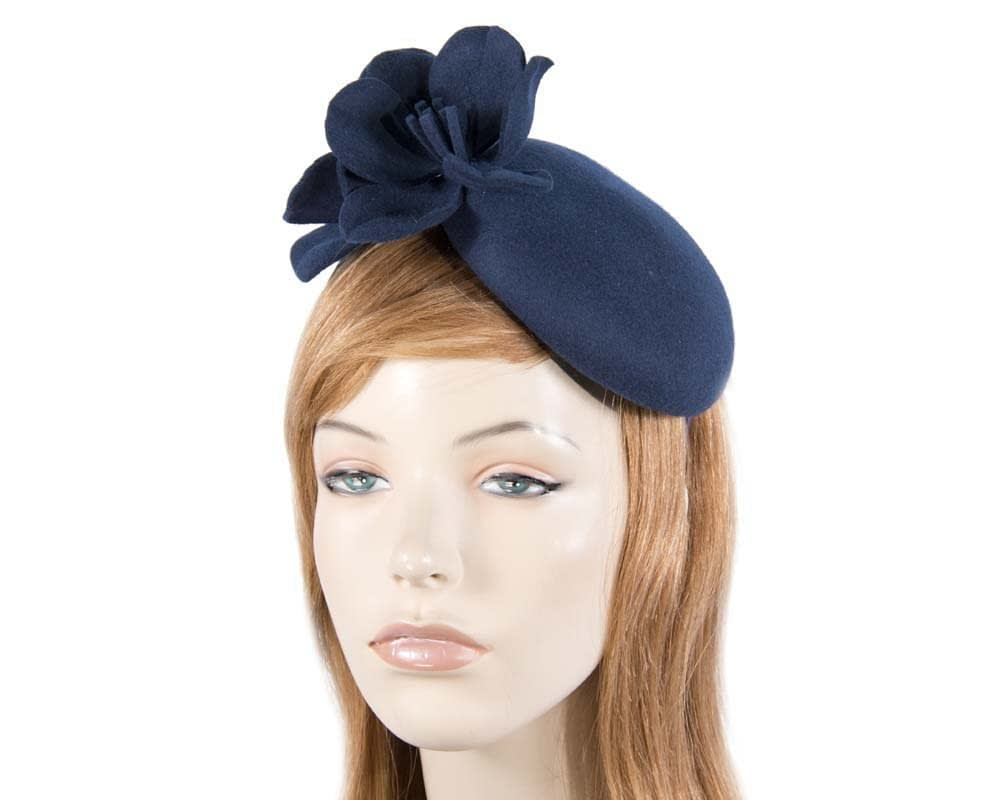 Navy felt pillbox with flowers J303N