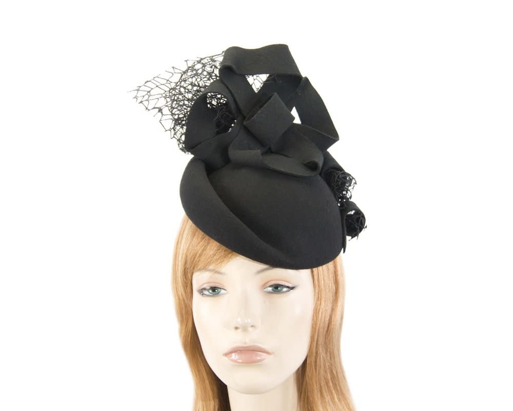 Bespoke black felt winter fascinator