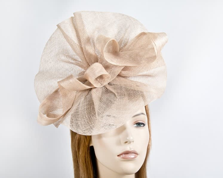 Large nude sinamay fascinator