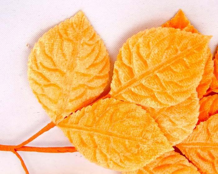 Craft & Millinery Supplies -- Trish Millinery- orange velvet leaves closeup