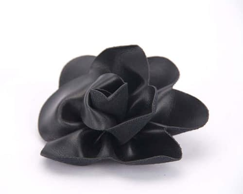 Craft & Millinery Supplies -- Trish Millinery- black leather flower