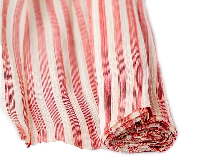 Craft & Millinery Supplies -- Trish Millinery- silk abaca stripe red cream