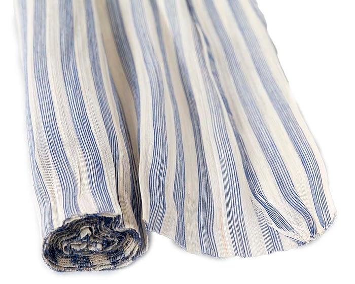 Craft & Millinery Supplies -- Trish Millinery- silk abaca stripe blue cream