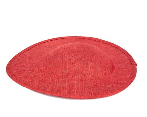 Craft & Millinery Supplies -- Trish Millinery- red large saucer oval sinamay blocked fascinator base