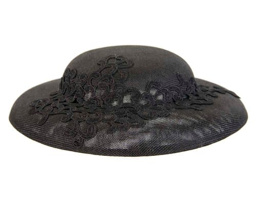 Unusual black boater hat with lace by Max Alexander Fascinators.com.au MA804 black side