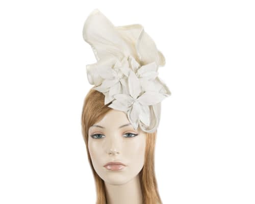 Cream fascinator with leather flowers by Fillies Collection Fascinators.com.au S221 cream