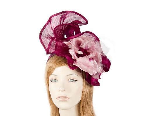 Bespoke magenta flower fascinator Fascinators.com.au S190 burgundy