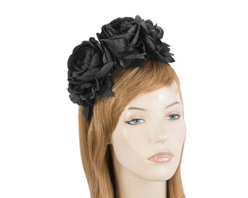 Black flower headband by Max Alexander Fascinators.com.au MA820 black